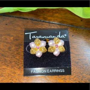 Gold and Pink floral earrings
